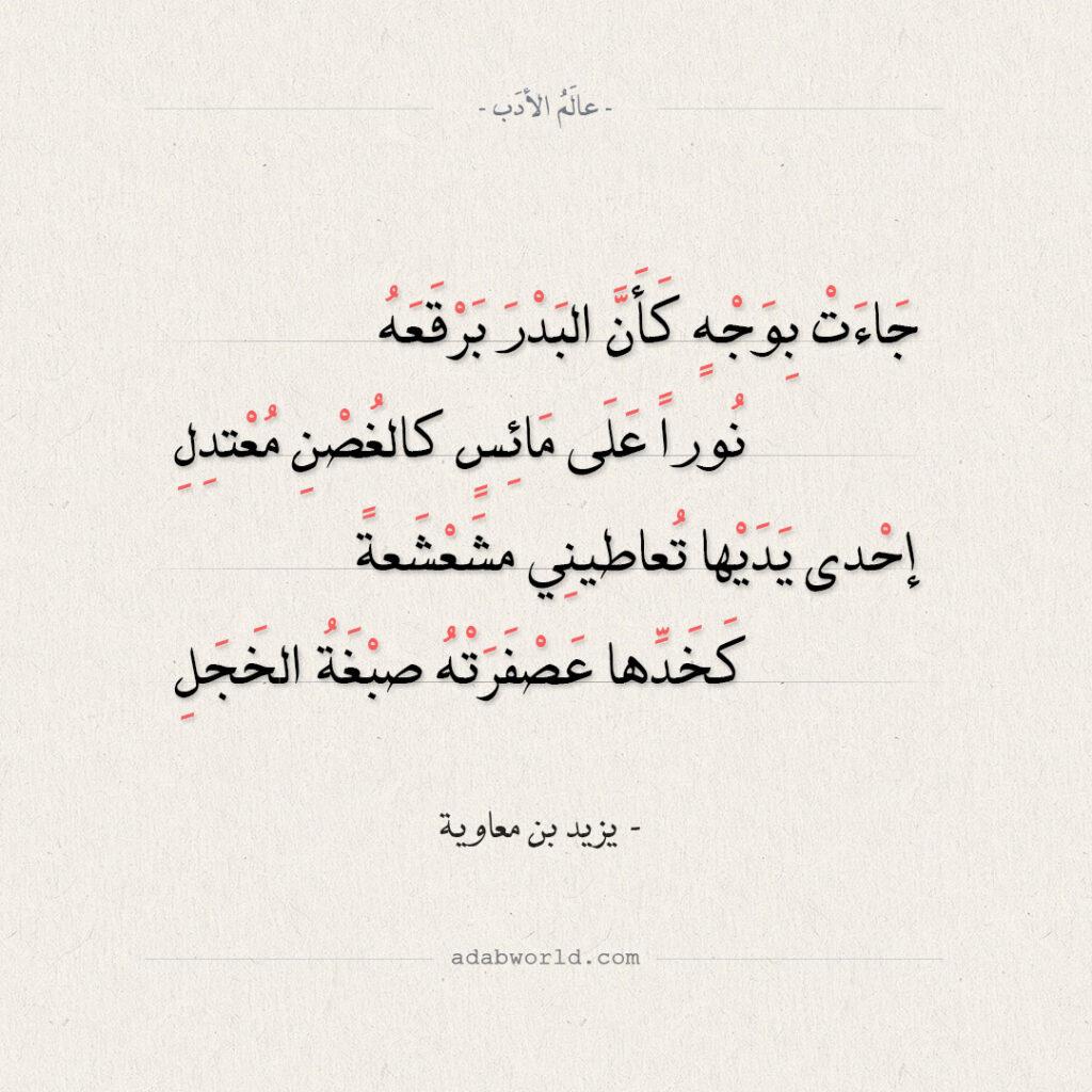 جاءت بوجه كأن البدر برقعه - يزيد بن معاوية