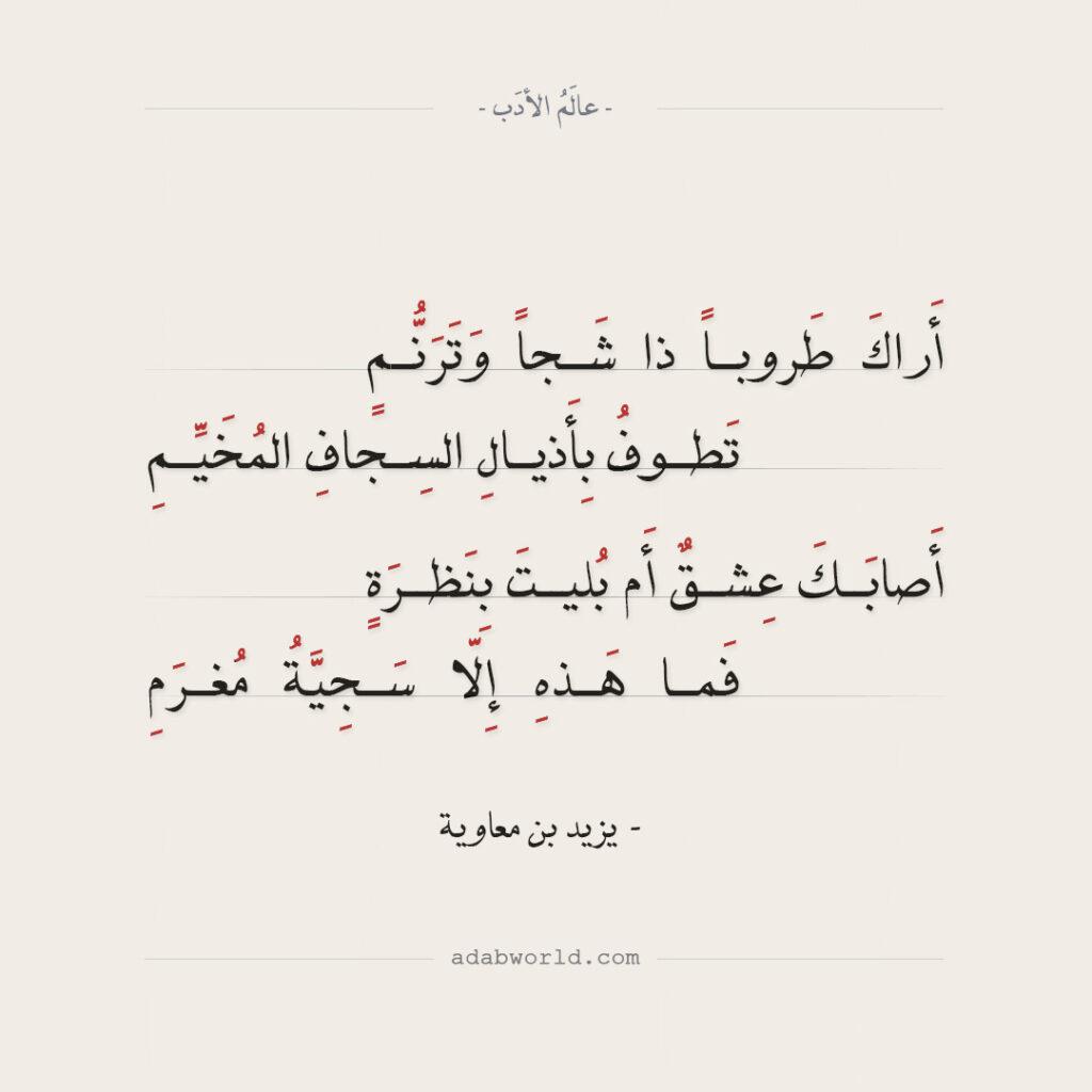 يزيد بن معاوية - أراك طروبا ذا شجا وترنم