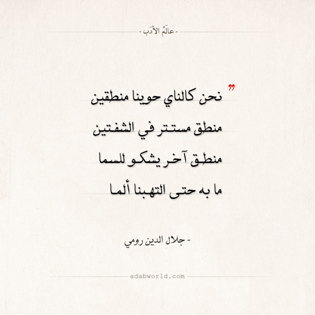 اقتباسات جلال الدين رومي - نحن كالناي حوينا منطقين